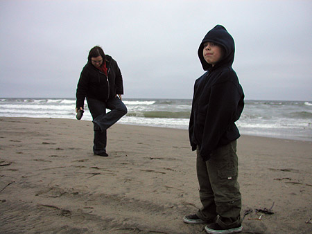 sandy shoes at ocean beach