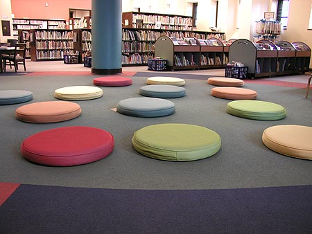 cool cushions at the library's storytime