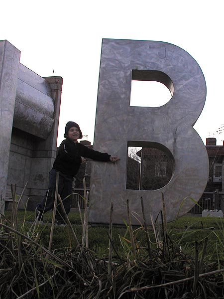 big letters, little man at the walker library